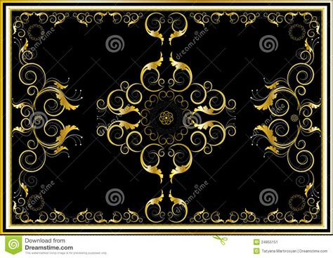 Colorful Area Rugs by Oriental Gold Ornaments For Rug In Dark Background Stock