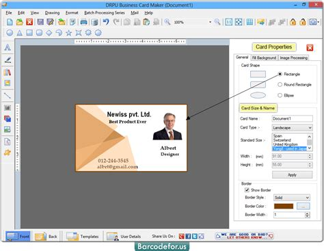 business card software barcode maker software and card designer program 2017