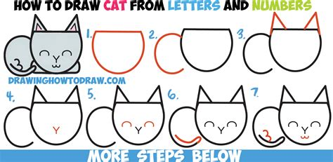 cat step by step how to draw a cat completely from letters