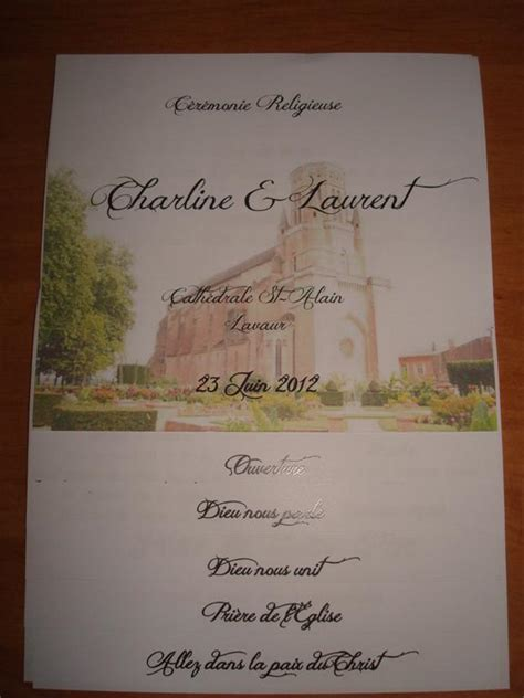 qu avez vous mis dans vos livrets de messe 1 2 forum mariage 31