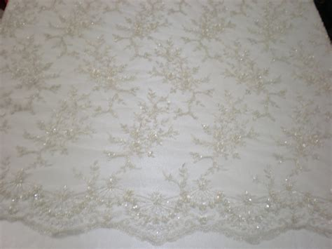 white beaded lace white mesh with embroidery beaded lace sequins
