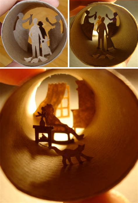 toilet paper arts and crafts collages crafted inside of tiny toilet paper rolls