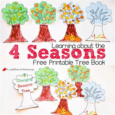 book tree craft learning about the 4 seasons free printable tree book