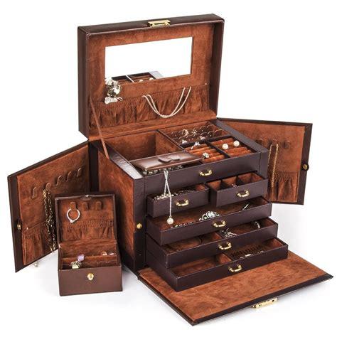 jewelry boxes beautiful large brown leather jewelry box storage