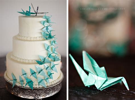 wedding origami aqua origami cranes cascading on classic wedding cake