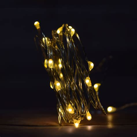 battery operated string light 20 warm white led wire waterproof string lights w