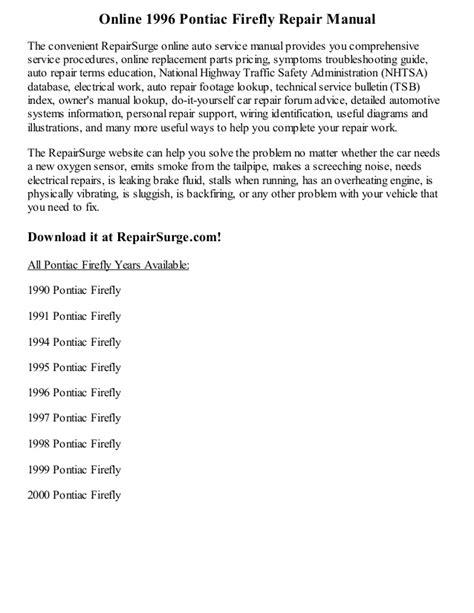 service manuals schematics 1992 pontiac firefly auto manual 1996 pontiac firefly repair manual online