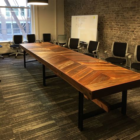woodworking conference crafted reclaimed wood chevron conference table by
