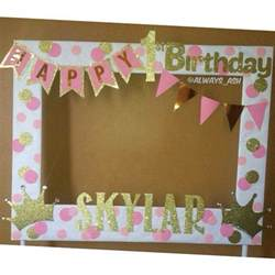 frame decorations pink and gold 1st birthday photobooth frame