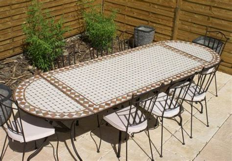 table jardin mosaique ovale 260cm table rectangle plus consoles c 233 ramique blanche et ses