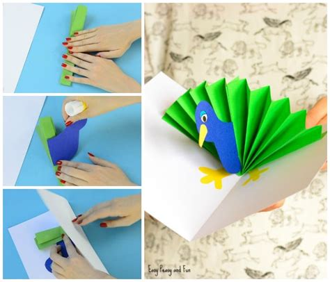 paper craft cards peacock pop up card paper craft easy peasy and