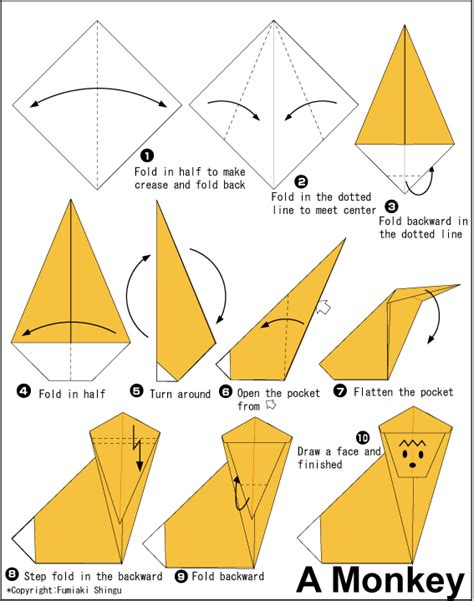 origami monkey diagram origami monkey daisys origami monkey and