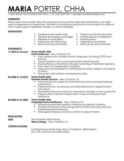 home health aide resume examples healthcare resume