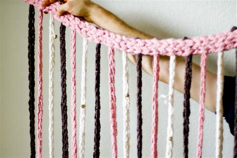 diy beaded curtains a finger knitting door curtain with bells diy flax twine