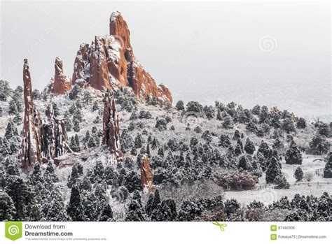 Garden Of The Gods Time Garden Of The Gods Colorado Springs Winter Snow Stock