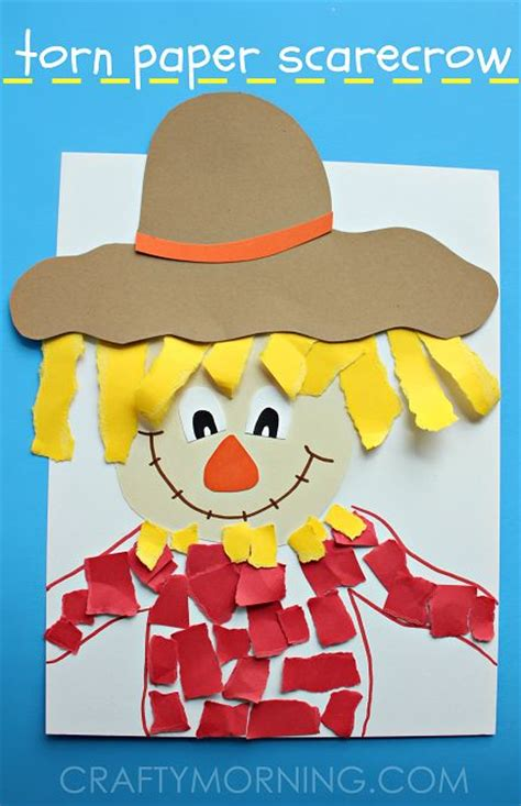 scarecrow paper craft torn paper scarecrow craft for colored paper