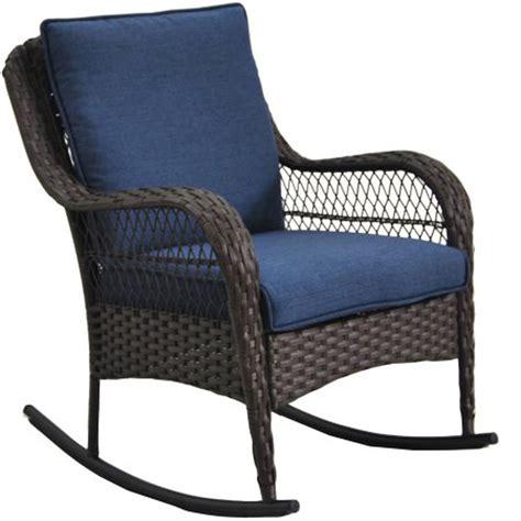 wicker rocker patio furniture porch rocking chair blue cushion wicker outdoor rocker