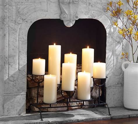 fireplace candles fireplace candleholder pottery barn