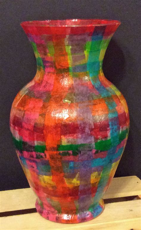 decoupage on glass vase ornaments vases