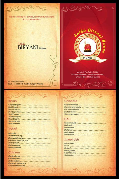 how to make menu card for restaurant zaika biryani house menu card by syedmaaz on deviantart