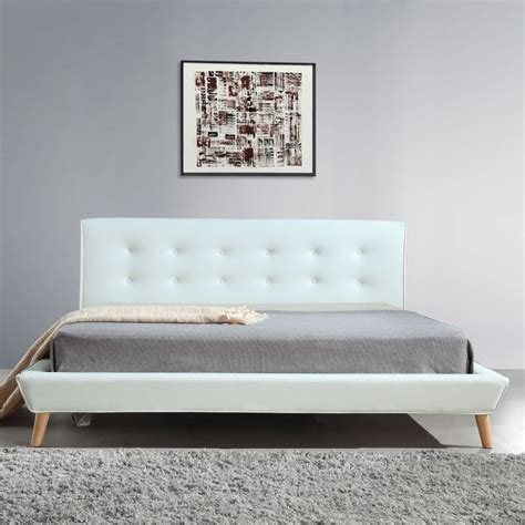 pu bed frame button tufted king pu leather bed frame in white buy