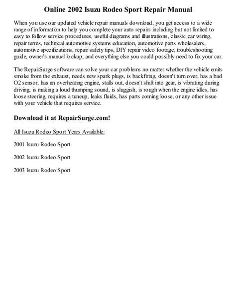 car repair manuals online free 2002 isuzu rodeo sport spare parts catalogs 2002 isuzu rodeo sport repair manual online