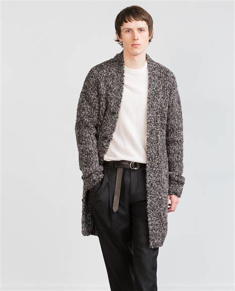 Zara Studio Knit Cardigan In Gray For Lyst