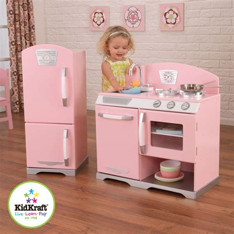 kid craft kidkraft pink retro play kitchen and refrigerator