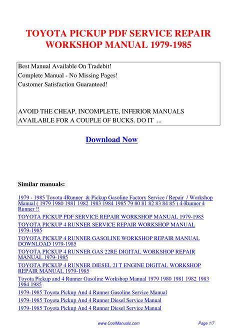 service manual car repair manuals online pdf 1985 audi coupe gt auto manual service manual toyota pickup service repair workshop manual 1979 1985 pdf by linda pong issuu