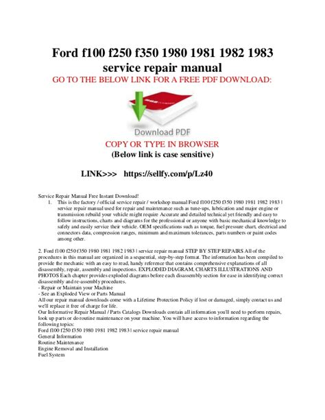 service repair manual free download 1989 ford bronco seat position control ford f100 f150 f250 f350 1980 1981 1982 1983 service repair manual