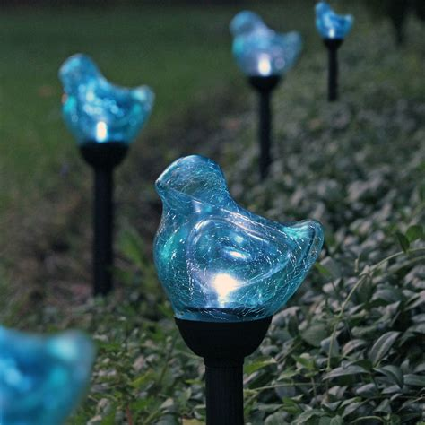 solar walkway lights 6 pack blue bird crackle glass white led solar path