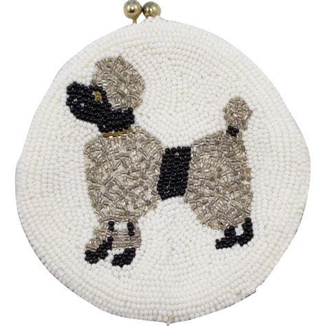 beaded coin purse vintage white beaded coin purse with poodle sold on ruby