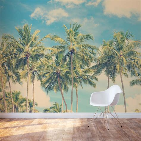 Nautical Wall Murals vintage summer palms wall mural