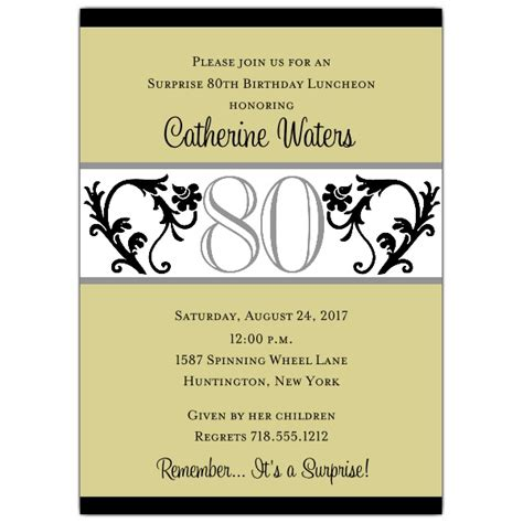 elegant vine chartreuse 80th birthday invitations paperstyle