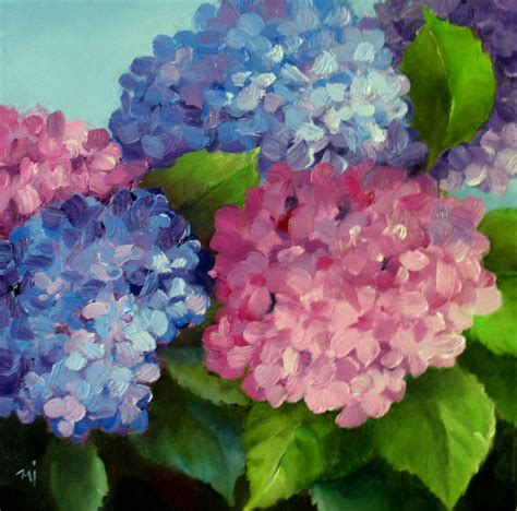 acrylic painting hydrangeas nel s everyday painting 6 23 13 6 30 13