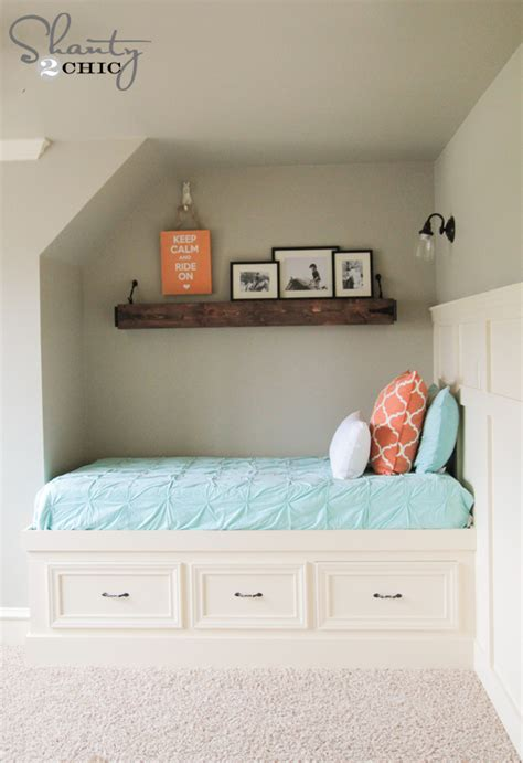 build bed diy built in storage bed shanty 2 chic