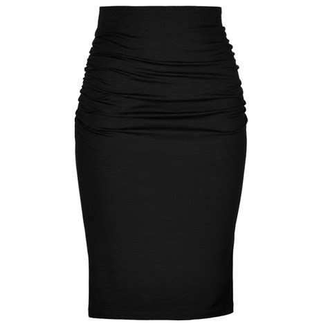 black knit skirt plus size black knit cotton high waisted ruched pencil