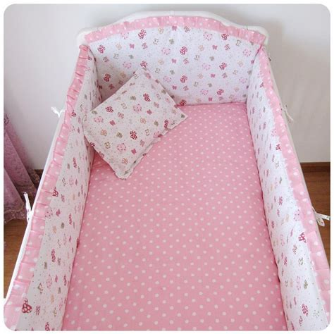 baby cot bed bedding sets promotion 6pcs pink baby crib bedding set for cot