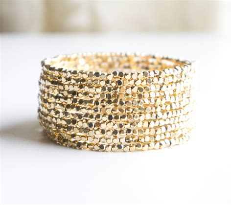 Gold Cube Beaded Cuff Bracelet Seed Bead By Chooselikebuy