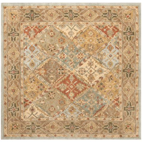 6 square area rug safavieh heritage light blue light brown 6 ft x 6 ft