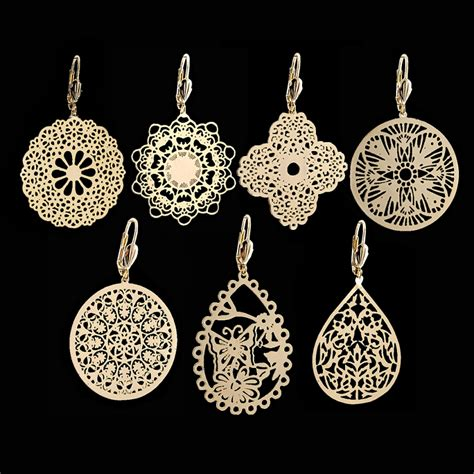 filigree for jewelry 18kt gold layered filigree fashion earrings oro laminado