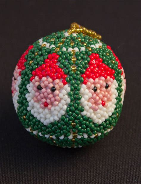 beaded bauble pattern beaded santa bauble using 9 0 toho and a pattern