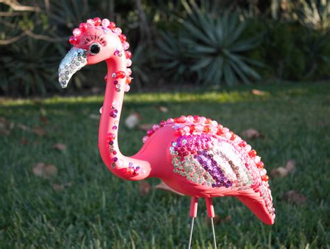 pink flamingo ornaments bedazzled flamingo lawn ornament pink plastic flamingo with