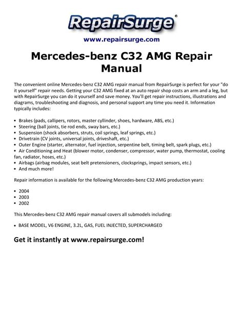 service manual auto repair manual online 2004 mercedes mercedes benz c32 amg repair manual 2002 2004 by michael jatenson issuu
