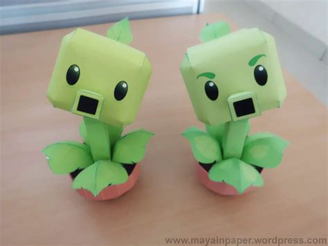 plants vs zombies paper crafts peashooter repeater papertoy plants vs zombies