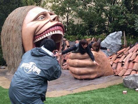 attack on titan japanese attack on titan statues are japanese tourists