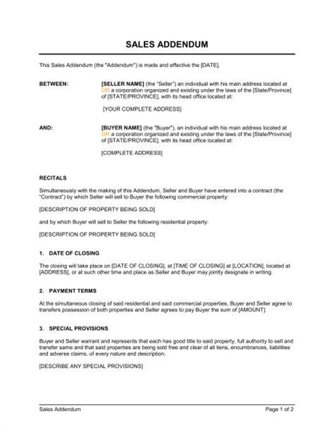 sales addendum template amp sample form biztree com
