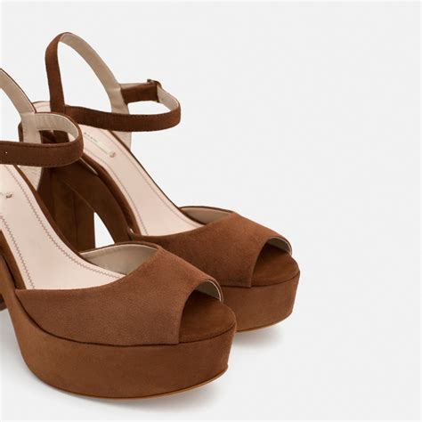 leather platform sandals zara leather platform sandals in brown lyst