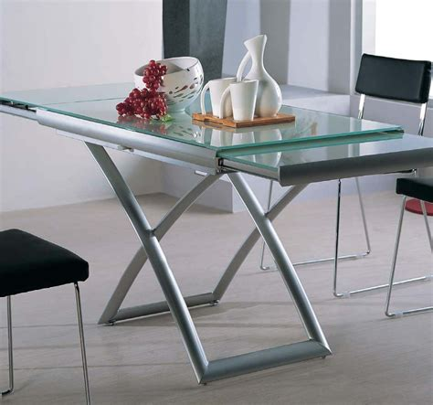 glass table transforming extending glass table expand furniture