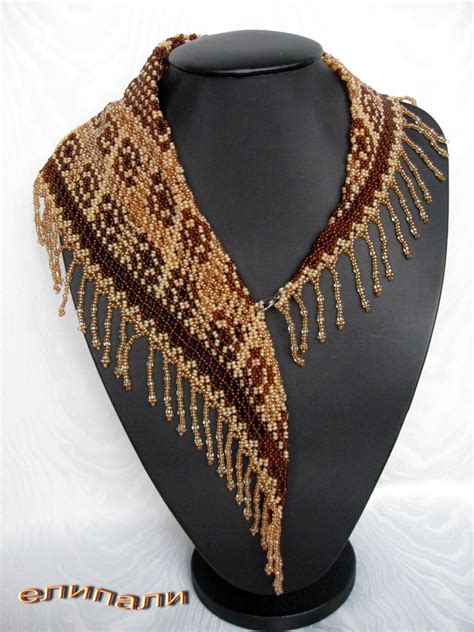 beaded scarf necklace latte biser info all about and beaded works